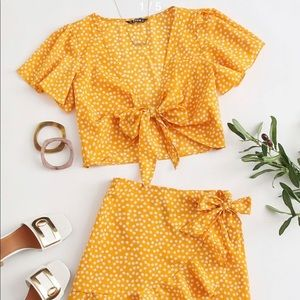 Shein yellow skirt and crop top set